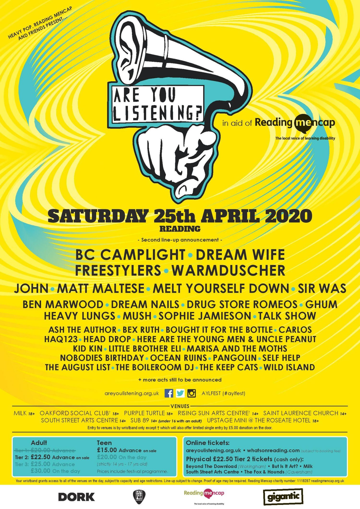 Another twenty acts have been announced for this year's Are You Listening? Festival